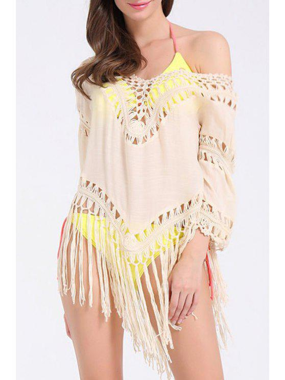 unique Tassels Openwork Chiffon Cover-Up - KHAKI ONE SIZE(FIT SIZE XS TO M)