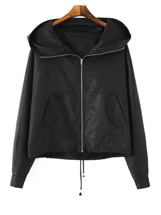 fancy Hooded Batwing Long Sleeves Solid Color Coat - BLACK S