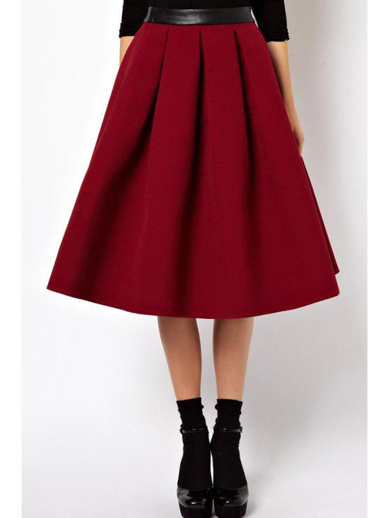 women's Red High Waisted Flare Skirt - RED S
