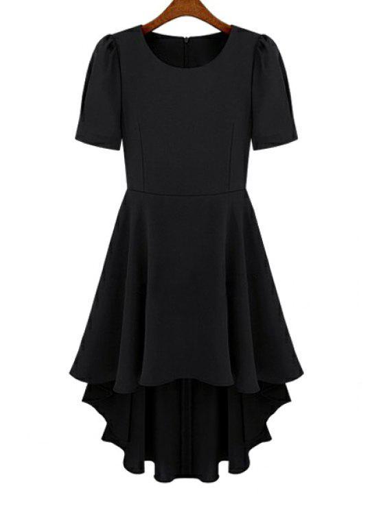 chic Short Sleeve Chiffon Dovetail Dress - BLACK M