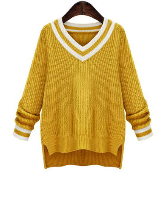 buy V-Neck Striped High Low Jumper - YELLOW S