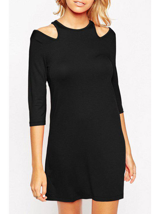 lady 3/4 Sleeve Cut Out Dress - BLACK S