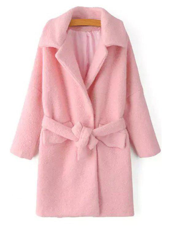 outfits Wool Blend Turn-Down Collar Pink Thicken Coat - PINK S