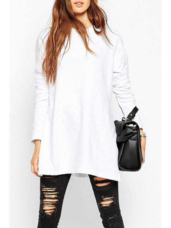 affordable Long Sleeve Side Slit White Sweatshirt - WHITE S