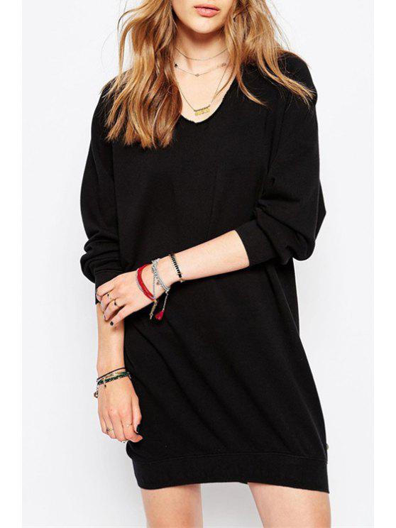 women V-Neck Black Long Sweatshirt - BLACK S