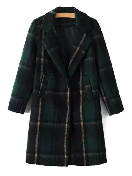 trendy Plaid Lapel Collar Long Sleeves Wool Blend Coat - GREEN S