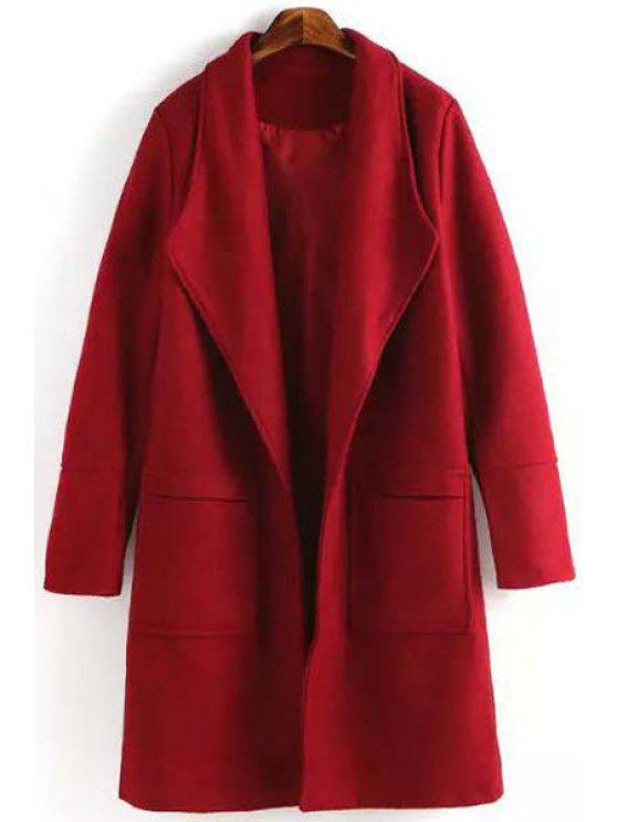 women's Red Turn Down Collar Long Sleeves Coat - RED S