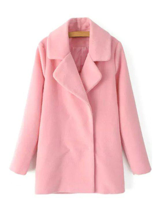 affordable Solid Color Lapel Collar Long Sleeves Woolen Coat - PINK S