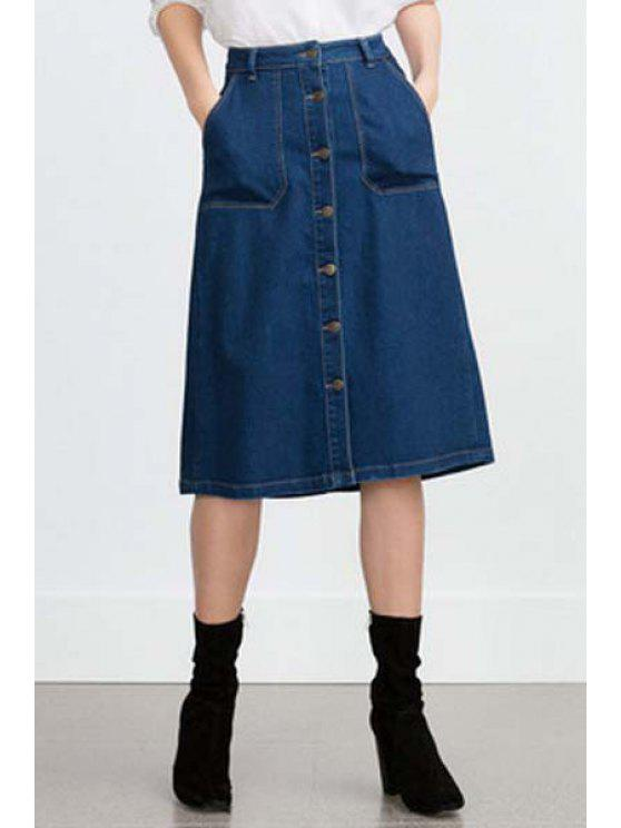 online Blue High Waisted A Line Denim Skirt - BLUE S