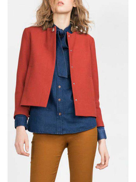 buy Pure Color Round Neck Long Sleeve Blazer - JACINTH S