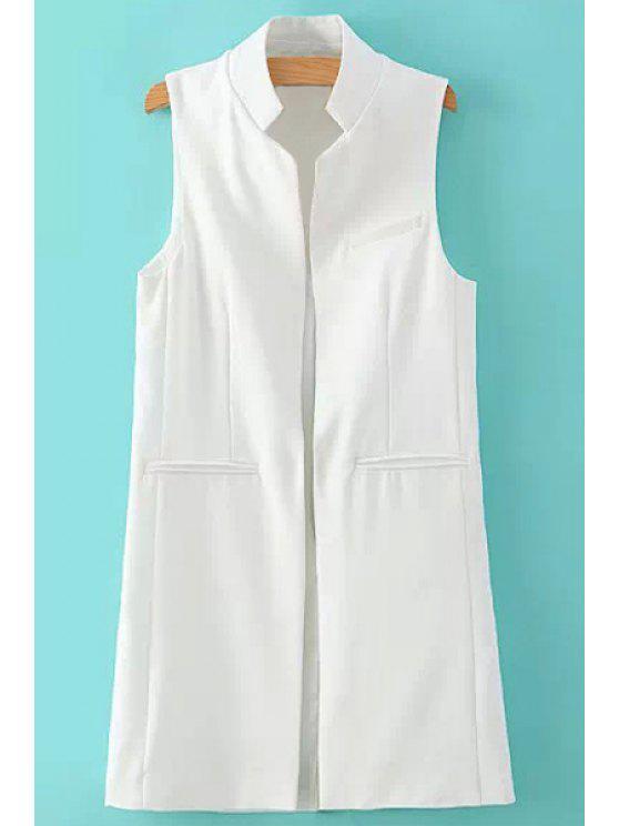 fashion Stand Neck Pure Color Waistcoat - WHITE S