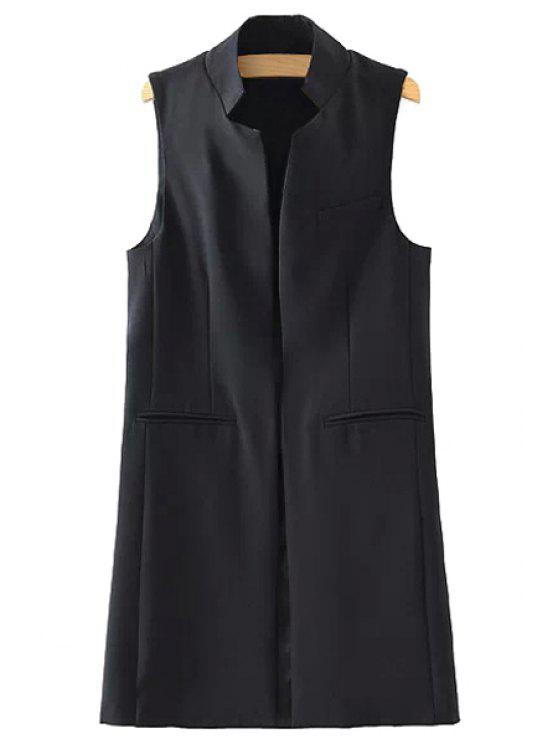 buy Stand Neck Pure Color Waistcoat - BLACK L