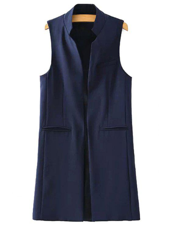 women Stand Neck Pure Color Waistcoat - DEEP BLUE S