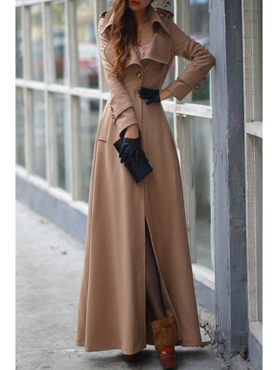 trendy Pure Color Turn Down Collar Long Sleeve Maxi Coat - KHAKI L