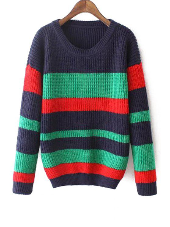 shops Striped Scoop Neck Long Sleeves Pullover Sweater - CADETBLUE ONE SIZE(FIT SIZE XS TO M)