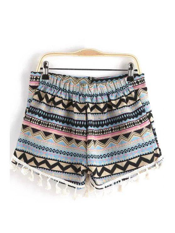 chic Geometric Print Tassels Shorts - COLORMIX S