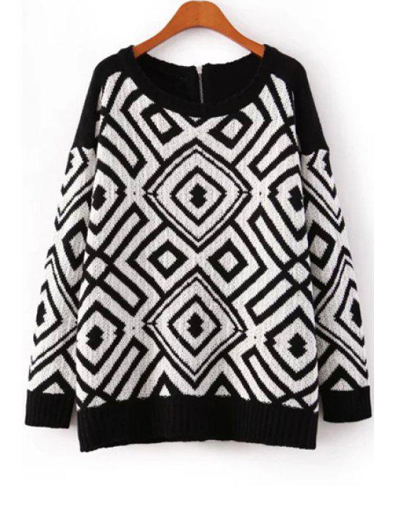 hot Geometric Pattern Zippered Sweater - WHITE AND BLACK M