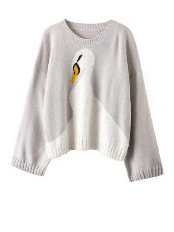 shops Wide Sleeve Swan Pattern Jumper - GRAY ONE SIZE(FIT SIZE XS TO M)