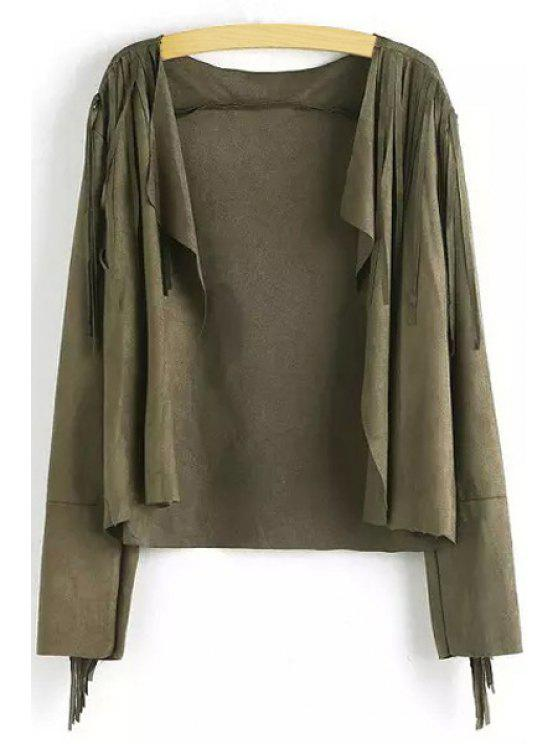 trendy Fringed Faux Suede Jacket - BLACKISH GREEN S
