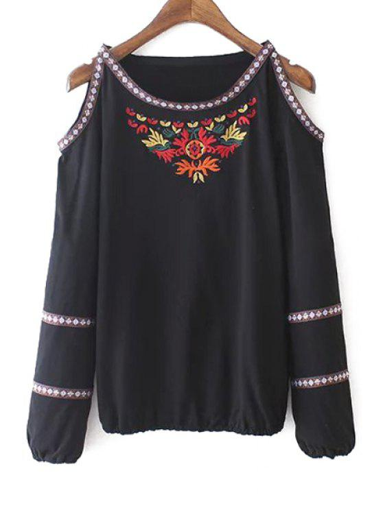 lady Embroidery Embellishment Long Sleeves Cut Out Blouse - BLACK S