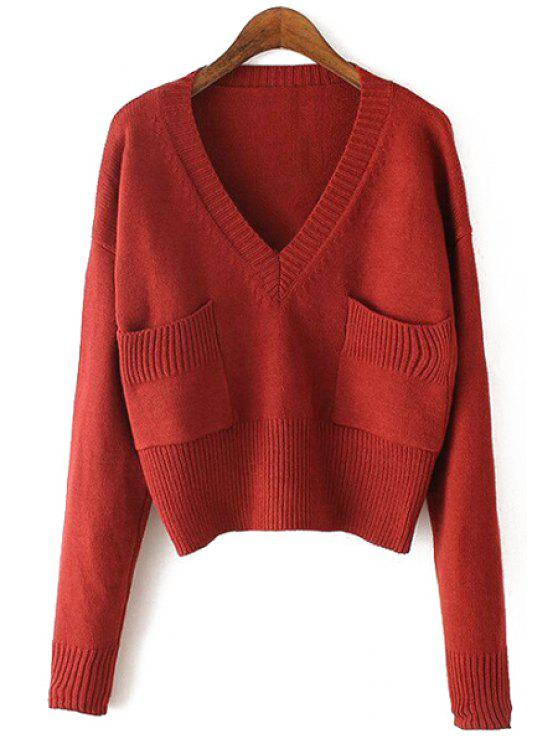 sale Loose-Fitting Short V-Neck Pullover Sweater - WINE RED ONE SIZE(FIT SIZE XS TO M)
