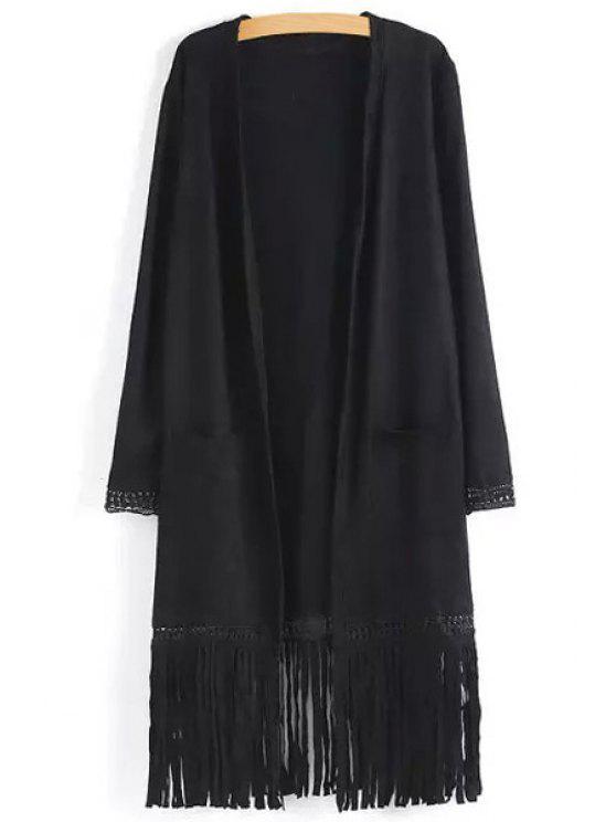 best Two Pockets Fringed Suede Coat - BLACK S
