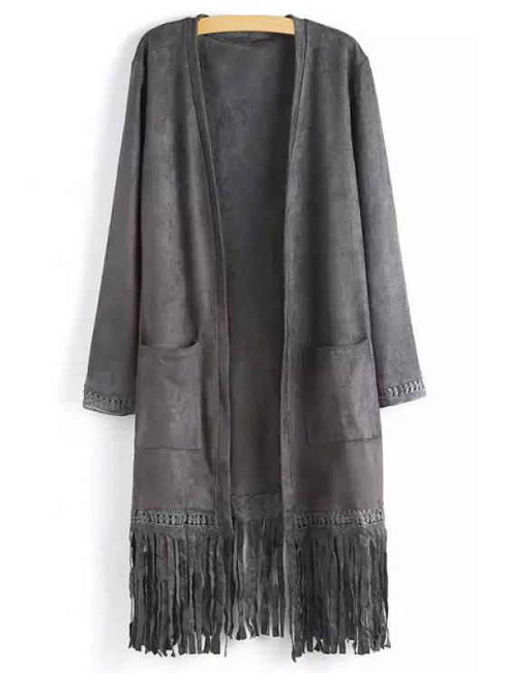 shops Two Pockets Fringed Suede Coat - GRAY S