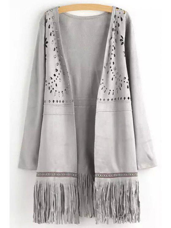 affordable Openwork Fringed Suede Coat - GRAY S