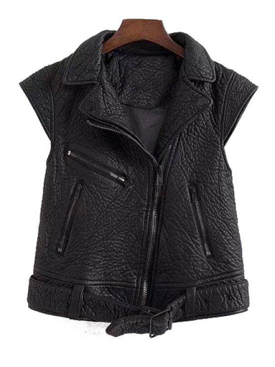 affordable PU Leather Black Side Zipper Thicken Waistcoat - BLACK S