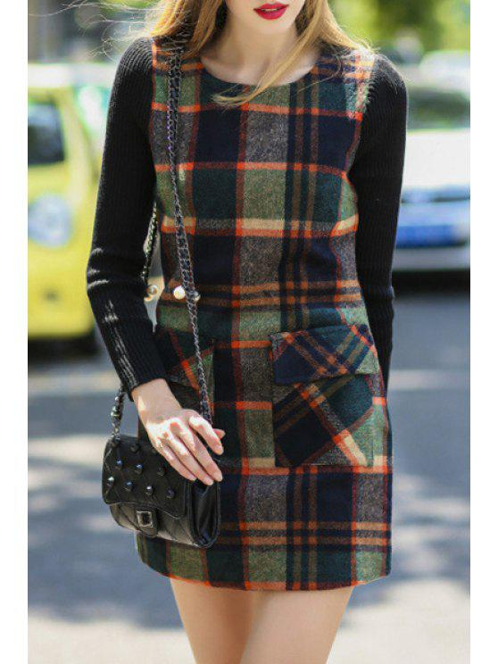 shops Spliced Plaid Long Sleeves Sweater Dress - COLORMIX S