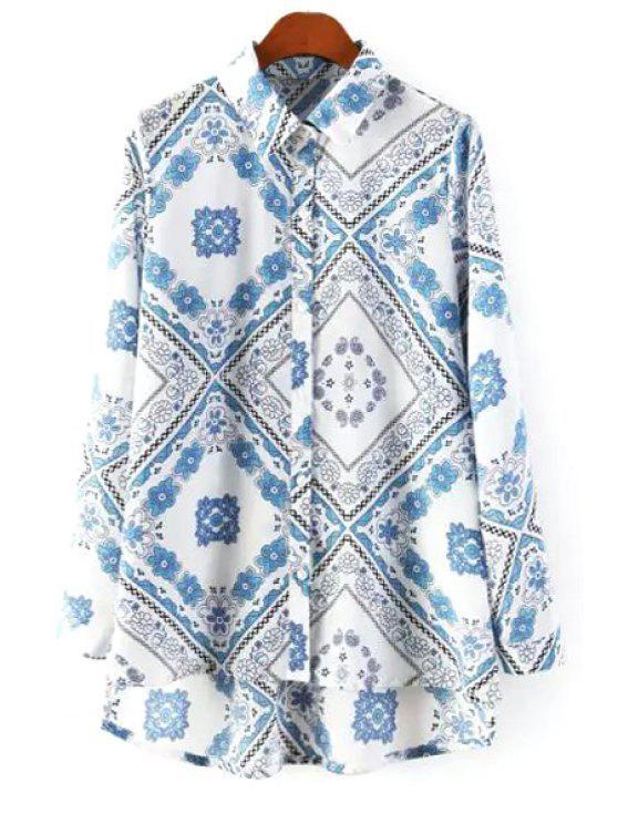 womens Vintage Floral Print Shirt - WHITE S