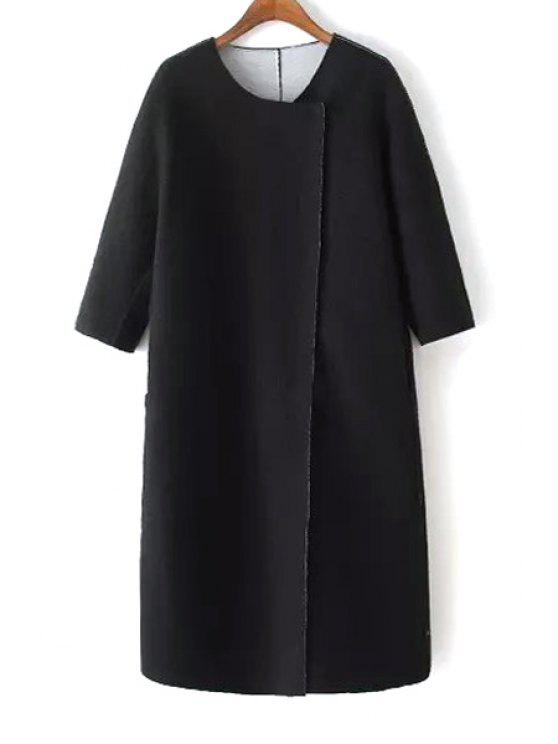 shops 3/4 Sleeve Covered Button Black Coat - BLACK M