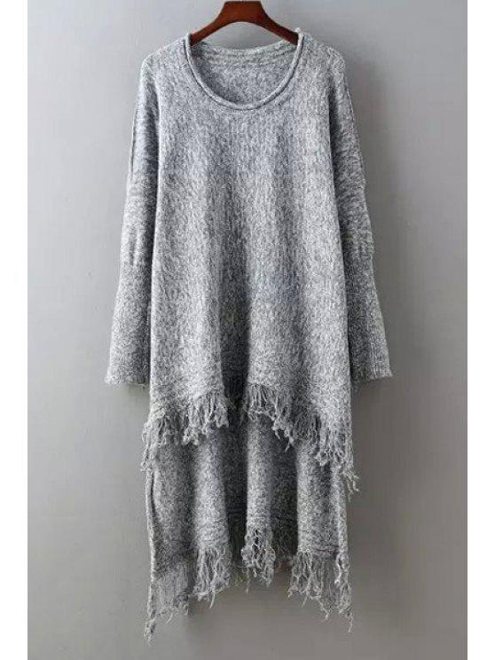 best Fringed High Low Sweater - GRAY ONE SIZE(FIT SIZE XS TO M)