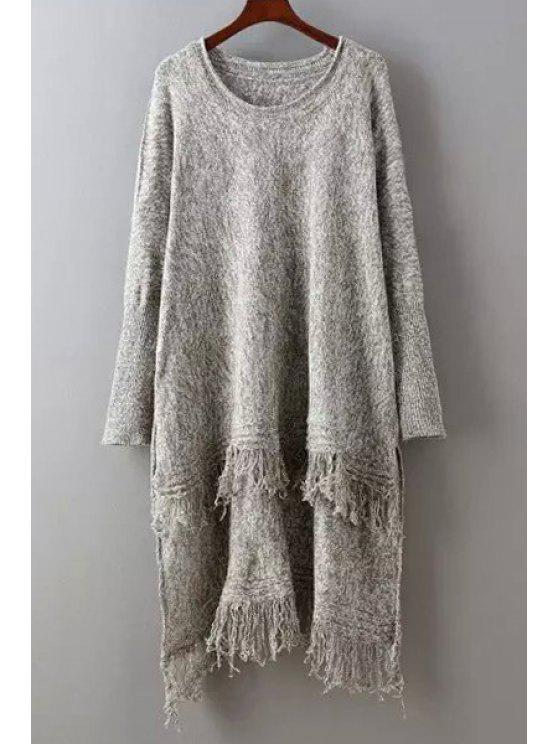 hot Fringed High Low Sweater - COFFEE ONE SIZE(FIT SIZE XS TO M)