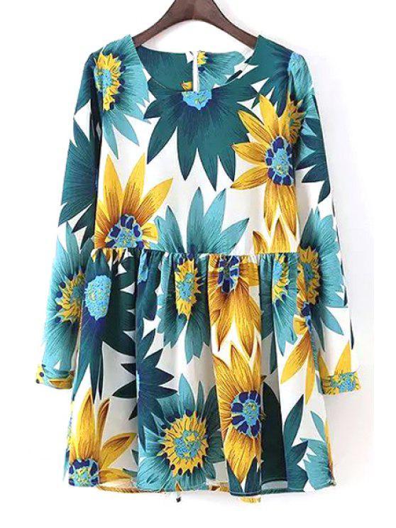 women Long Sleeve Sunflower Print Dress - WHITE S
