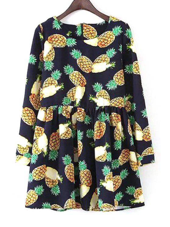 fashion Long Sleeve Pineapple Print Dress - BLUE M
