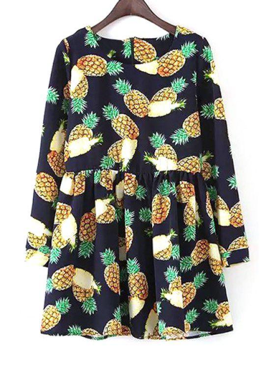 fancy Long Sleeve Pineapple Print Dress - BLUE L