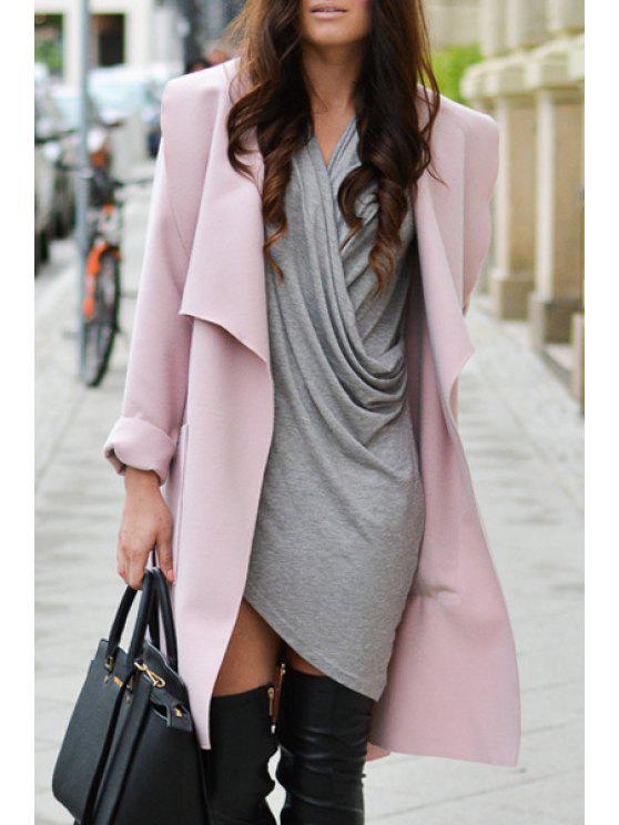 Manteau en tricot à col roulé en couleur unie - ROSE PÂLE L