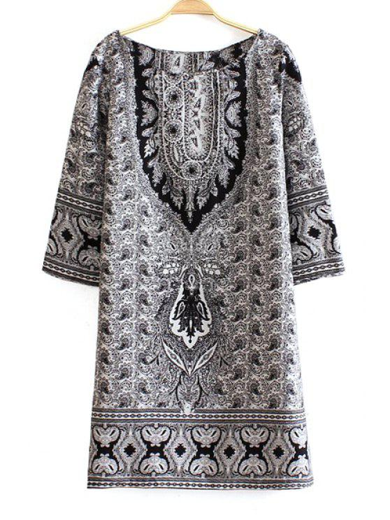 lady Long Sleeve Paisley Print Dress - WHITE L