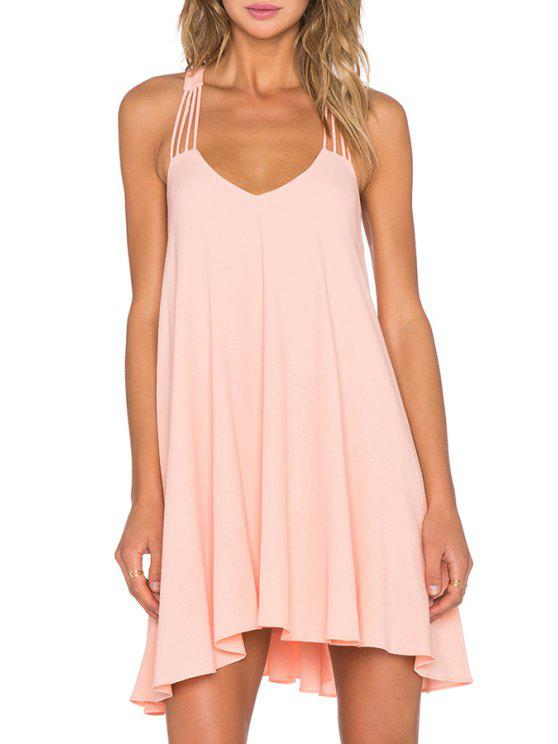 hot Backless Halterneck Solid Color Dress - PINK S
