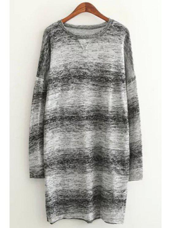 shop Long Sleeve Ombre Color Sweater - GRAY ONE SIZE(FIT SIZE XS TO M)