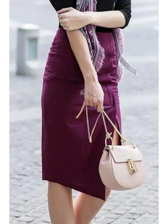 online Side Slit Packet Buttocks Midi Skirt - RED S