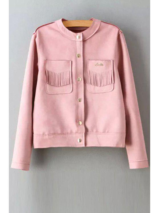 unique Round Neck Two Pockets Suede Jacket - PINK M