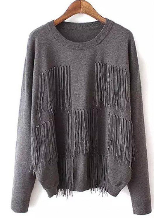 chic Round Neck Tassels Jumper - GRAY ONE SIZE(FIT SIZE XS TO M)