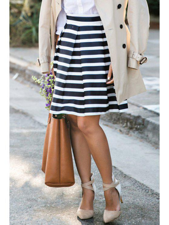 best Striped Ball Gown Cotton Blend Skirt - WHITE AND BLACK M
