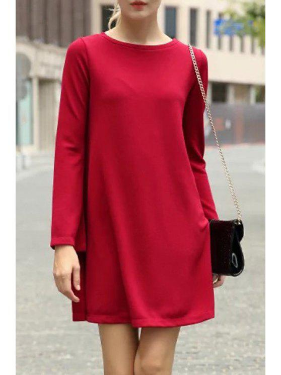 lady Long Sleeve Pure Color Flare Dress - RED M