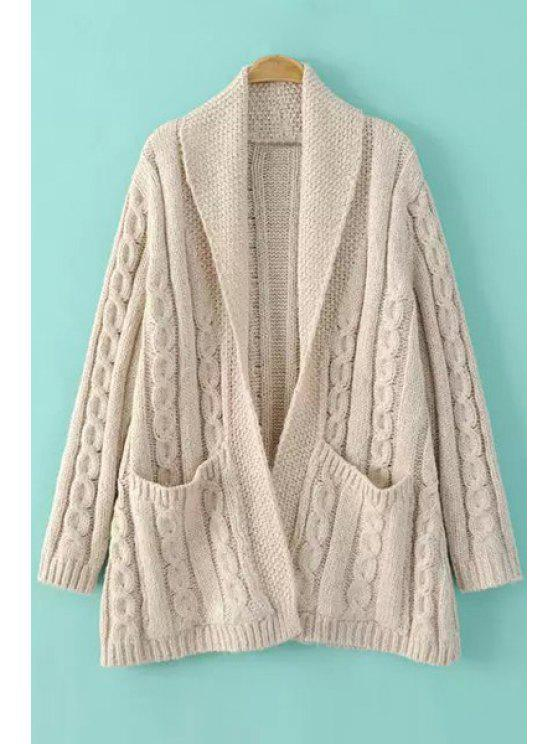 ladies Cable Knit Big Pockets Cardigan - OFF-WHITE ONE SIZE(FIT SIZE XS TO M)
