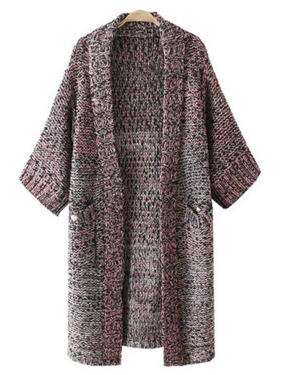 new Half Sleeve Mixed Color Long Cardigan - COLORMIX ONE SIZE(FIT SIZE XS TO M)