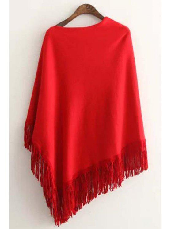 outfits Tessels Asymmetric Cape Sweater - RED ONE SIZE(FIT SIZE XS TO M)