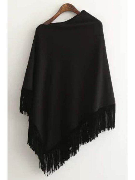 shops Tessels Asymmetric Cape Sweater - BLACK ONE SIZE(FIT SIZE XS TO M)